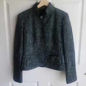 Elie Tahari Wool Green Tweed Blazer Size Small